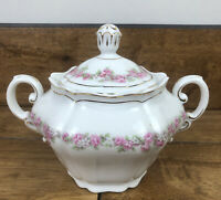 Vintage Vienna Austria lidded Sugar Bowl with Handles Pink Garland