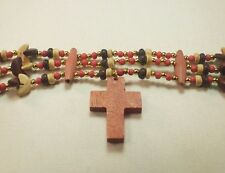 Christian Choker Necklace Eclectic Bead Mix Wood Cross Gold Tone Accents GIFT!