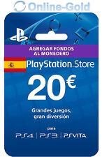 20€ PlayStation PSN Prepaid Key 20 Euro Sony PS3 PS4 PS Vita Tarjeta Prepago ES