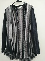 STYLE & CO. Women's Beige/ Black Knit Crochet Fringe  Cardigan Sweater Size L