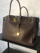 HERMES Birkin 40 cm Dark Brown Leather Gold Hardware Bag with Lock   Key c0a3a96f66f0e