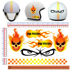adesivi casco no fear fiamme teschio strisce sticker helmet fire skull 6 pz.