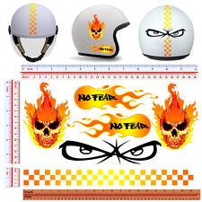 adesivi casco no fear fiamme teschio strisce sticker helmet fire skull 6 pz.