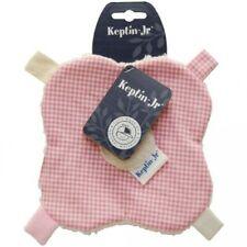 Doudou fleur à étiquettes en coton bio à carreaux rose clair et blanc KEPTIN Jr