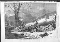 Original Old Antique Print 1863 Caribou Hunting New Brunswick Canada Hunters