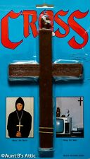 Monks Cross Brown Plastic Wood Look Religious Symbol Costume Prop W/ Cord