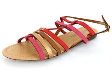 Sandalias con tiras de mujer en rojo, talla 41