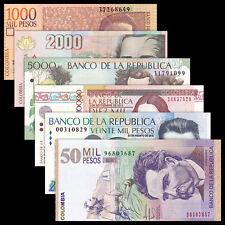 Colombia Set 6 PCS, 1000-10000,20000,50000 Pesos, 2012-2015, UNC