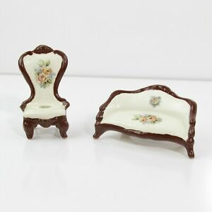 MINIATURE PORCELAIN CHAIR AND LOVE SEAT