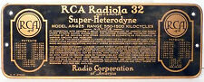 "vIntage RCA * RADIOLA 32 RADIO part:  RCA RADIOLA 32 NAMEPLATE -- 8""  x  3"""