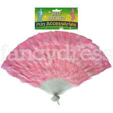 "15"" Long Feather Fan Light Pink Burlesque Moulin Rouge Showgirl Fancy Dress"