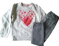 Gymboree Girls Heart Love Sweat Shirt Gray Skinny Jeans Ooutfit  Size S 5 5T 6