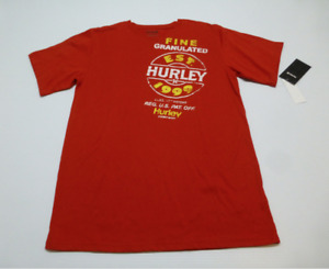 Hurley Tee Shirt Teen Boys Size XL Red V Neck Logo Graphic Tee New