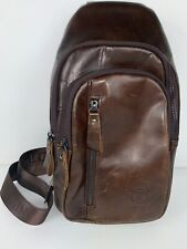 BULL CAPTAIN Brown Leather Crossbody Men's Casual Shoulder Messenger Man Bag
