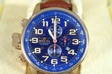 Invicta 3329 Lefty Chronograph Deep Blue and Gold Excellent Condition Tags Boxed