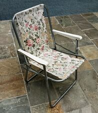 Vintage Deck Chair Floral Garden Furniture Camping Portable Folding Beach camper