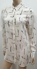 AUTOGRAPH M&S Ivory Cream & Black Silk Abstract Print Blouse Shirt Top UK8