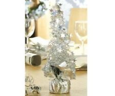 """12"""" Elegant 30CM SILVER SPIRAL CHRISTMAS TREE Table Office FREE 1st CLASS POST"""