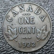 OLD CANADIAN COIN 1922 KEY DATE - ONE CENT - BRONZE - George V - Nice Coin