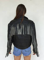 Vintage VTG 1970s 70s Easyriders Black Leather Fringe Moto Motorcycle Jacket