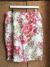 Laura Ashley Chintz Floral Linen Pencil Skirt UK 14
