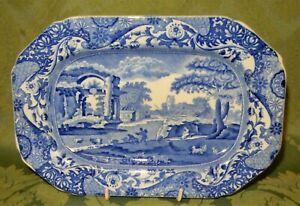 Spode Blue & White Italian Pattern Small Obround Platter Serving Plate