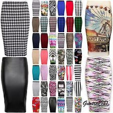NEW LADIES WOMEN  MIDI BODYCON PENCIL PLAIN PRINTED HIGH WAIST TUBE  SKIRT 8-26