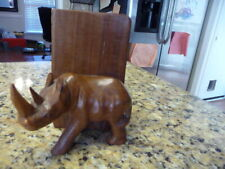 Wooden African Vintage Rhinoceros bookend antique wood bookcase carved wood used