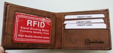 Men's RFID Blocking Security Vintage Rugged GENUINE LEATHER Brown Bifold Wallet