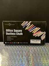 Office Square Dustless Chalk. 12 White. 2 Red 2 Blue 2 Yellow + Chalk Holder