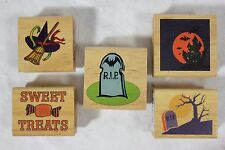 Lot of 5 New Canadian Maple Halloween HEADSTONE WITCH Wood Mounted Rubber Stamps