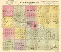 Ellsworth County Kansas - Everts 1887 - 23.00 x 27.21