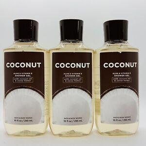3 PACK - BATH & BODY WORKS COCONUT ALOE & VITAMIN E SHOWER GEL 10 FL OZ EACH