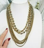 Vintage Gold Tone Bead and Mixed Chain Link Multi Strand Necklace