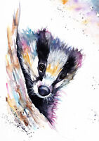 Badger Sale,Original ,Watercolour ,Print ,Card, Gift, Wildlife,Animal,Art, wall