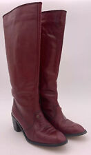 Vintage Etienne Aigner Heel Riding Boots EA620 Burgundy Red Leather 6M