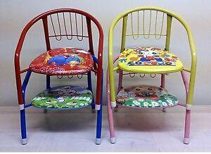 Children's Boys Girls Metal Frame Squeaky Chair Indoor Outdoor Pink Blue Red