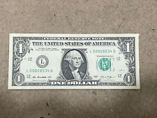 Lwo Serial Number $1 Bill 2013 Very Lights Circulated L 00008534 Q