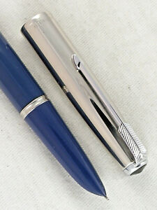 VINTAGE 1950s PARKER 51 FOUNTAIN PEN ~ AWESOME BLUE ~ SMOOTH WRITER ~RESTORED