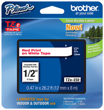 """Brother 1/2"""" (12mm) Red on White P-touch Tape for PT330, PT-330 Label Maker"""