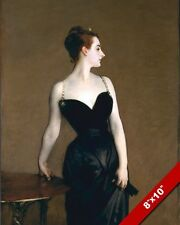 PALE WHITE WOMAN IN BLACK DRESS VINTAGE OIL PAINTING ART REAL CANVAS PRINT