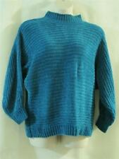 ASHLEIGH MORGAN Turquoise Blue Cable Knit MockNeck Chenille Pullover Sweater -L-