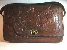 Genuine Leather Hide Tooled Brown Handbag Satchel - Visual Crafted Designs