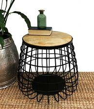 TITAN INDUSTRIAL COFFEE TABLE WINE SIDE LAMP TIMBER TOP METAL ROUND DECOR