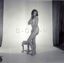 Original Vintage 1960s Amateur Artistic Studio Nude RP- Woman Stands By Chair