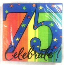 "16 - 75 BIRTHDAY BEVERAGE NAPKINS - ""75 Celebrate!"" A Year to Celebrate     6-4C"