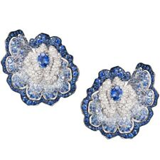 925 Sterling Silver CZ Stud Earrings Flower Blue & White Oval Round Unique Royal