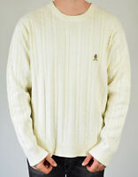Men's Vintage 90s Tommy Hilfiger White Cable Knit Jumper Size XL