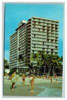 Vintage 1960's Postcard Outrigger Hotels Waikiki Hawaii Surfers Bikinis