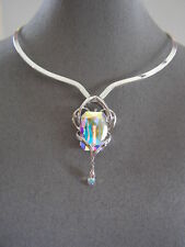 SWAROVSKI  AB  CRYSTAL ELEMENT PENDANT and SCOOP  V NECKLACE